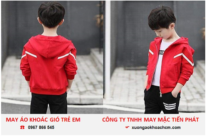 xưởng may áo khoác gió trẻ em giá rẻ