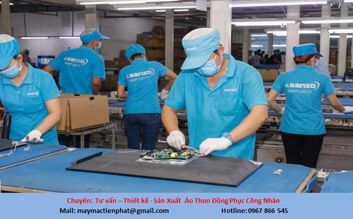 xưởng may áo thun đồng phục công nhân giá rẻ
